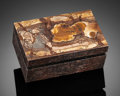 Lapidary Art:Boxes, BIGGS JASPER & DINOSAUR BONE BOX. Stone Source: Oregon &Utah. Artist: Konstantin Libman. ...