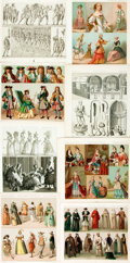 Books:Prints & Leaves, [European Costume]. Large Group of 19th Century Chromolithographsand Two-Tone lithographs of European and English Clothing & ...