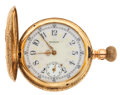 Timepieces:Pocket (post 1900), Elgin Multi-Color 14k Gold Fancy Dial Hunter's Case . ...