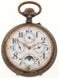 Timepieces:Pocket (post 1900), Over Sized Swiss Moon/Calendar Pocket Watch. ...