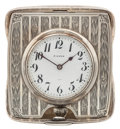 Timepieces:Clocks, A. Kerr Silver Travel Stand Clock. ...