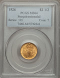 Commemorative Gold: , 1926 $2 1/2 Sesquicentennial MS64 PCGS. PCGS Population(4259/2096). NGC Census: (2797/1270). Mintage: 46,019. NumismediaW...