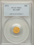 California Fractional Gold: , 1872 50C Indian Round 50 Cents, BG-1049, R.4, MS63 PCGS. PCGSPopulation (31/29). NGC Census: (0/4). ...