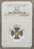 California Fractional Gold: , 1854 25C Liberty Octagonal 25 Cents, BG-108, Low R.4, MS64 NGC. NGCCensus: (1/0). PCGS Population (22/2). ...