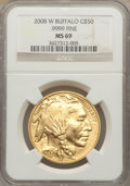 Modern Bullion Coins, 2008-W $50 One-Ounce Gold Buffalo MS69 NGC. .9999 Fine. NGC Census:(240/1160). PCGS Population (292/156). Numismedia Wsl....