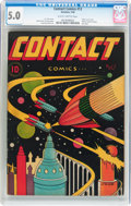 Golden Age (1938-1955):Science Fiction, Contact Comics #12 (Aviation Press, 1946) CGC VG/FN 5.0 Slightlybrittle pages....