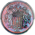 Patterns, 1866 5C Shield Five Cents, Judd-509, Pollock-592, High R.6, PR66 Red and Brown PCGS Secure. CAC....