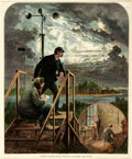 """Books:Prints & Leaves, Frenzeny & Tavernier. Hand-colored Illustration from Harper'sWeekly. """"United States Signal Service-Watching the Storm."""" Ori..."""