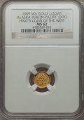 Alaska Tokens, 1909 Alaska-Yukon-Pacific Miner, 1/2 DWT, MS62 NGC. Gould-Bressett163. Hart's Coins of the West....