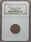 Civil War Merchants, 1863 Hussey's Message Post, New York, New York, MS64 Brown NGC,Fuld-NY630AK-1a; Undated Knickerbocker Currency MS63 Brown NGC...(Total: 2 tokens)