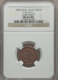 Civil War Patriotics, 1864 Our Army MS66 Brown NGC. Fuld-56/161a. The obverse die ismisaligned toward 8 o'clock....