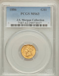 Gold Dollars: , 1886 G$1 MS63 PCGS. PCGS Population (101/145). NGC Census:(49/109). Mintage: 5,000. Numismedia Wsl. Price for problem free...