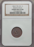 Civil War Patriotics, 1863 Indian Head MS63 Brown NGC. Fuld-81/351a....