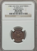Civil War Patriotics, 1863 Little Mack MS62 NGC, Fuld-140/394a; Undated Union Shield MS64Brown, Fuld-164/312a; 1863 Flag of Our Union MS63 Red and ...(Total: 3 tokens)