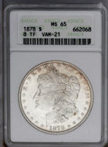 1878 8TF $1 MS65 ANACS. VAM-21. Light orange-gold freckles endow the peripheries, while the remainder of this lustrous G...