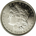 1878 7TF $1 Reverse of 1879 MS64 Deep Mirror Prooflike ANACS. An impressive near-Gem with deeply mirrored fields and ful...