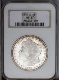 1879-S $1 MS67 NGC. A flashy and beautiful high grade silver dollar with frosty devices, semi-prooflike fields, and medi...