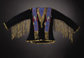 American Indian Art:War Shirts/Garments, A GROS VENTRE/ASSINIBOINE MAN'S BEADED HIDE AND CLOTH SHIRT. c.1890. ...