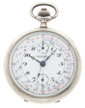 Timepieces:Pocket (post 1900), Rare Eberhard Sterling Case Chronograph . ...
