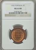 Portugal, Portugal: Republic 5 Centavos 1920 MS65 Red and Brown NGC,...