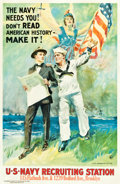 "Movie Posters:War, World War I Propaganda by James Montgomery Flagg (NY Mayor'sCommittee, 1918). Navy Recruiting Poster (27.5"" X 42""). ""The Na..."