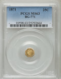California Fractional Gold: , 1871 25C Liberty Octagonal 25 Cents, BG-771, Low R.6, MS63 PCGS.PCGS Population (6/2). ...