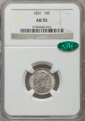 Bust Dimes: , 1831 10C AU55 NGC. CAC. NGC Census: (21/213). PCGS Population(28/175). Mintage: 771,350. Numismedia Wsl. Price for problem...