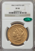 Liberty Double Eagles: , 1866-S $20 Motto XF45 NGC. CAC. NGC Census: (163/448). PCGSPopulation (117/190). Mintage: 842,250. Numismedia Wsl. Price f...