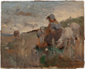 Fine Art - Painting, American:Antique  (Pre 1900), GEORGE W. CHAMBERS (American, 1857-1897). Shepherdess and herFlock. Oil on paper mounted on panel. 4-1/2 x 5-5/8 inches...