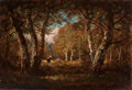 Paintings, Attributed to NARCISSE VIRGILE DIAZ DE LA PEÑA (French, 1808-1876). Faggot Gatherer in the Forest of Fontainebleau. Oil ...
