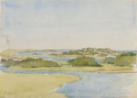 CHARLES STUART FORBES (American, 1860-1926) Estuary Watercolor on paper 9-7/8 x 13-7/8 inches (25