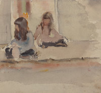 AMERICAN SCHOOL (20th Century) Two Seated Girls Watercolor and pencil on paper 7 x 7-3/4 inches (