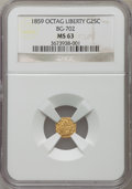 California Fractional Gold: , 1859 25C Liberty Octagonal 25 Cents, BG-702, R.3, MS63 NGC. NGCCensus: (9/48). PCGS Population (44/90). ...