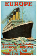 "Movie Posters:Miscellaneous, EUROPE (White Star Line-Olympic/Titanic) (c.1912). Travel Poster(27.5"" X 41.25""). Artist: Fred J. Hoetz.. ..."