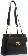 Luxury Accessories:Bags, Chanel Black Caviar Leather Turnlock Pocket Shoulder Bag with GoldHardware. ...