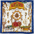 """Luxury Accessories:Accessories, Hermes Blue & White Silk """"Musee"""", by Phillipe Ledoux SilkScarf. ..."""