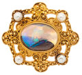 Estate Jewelry:Brooches - Pins, Boulder Opal, Pearl, Gold Brooch. ...