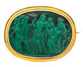 Estate Jewelry:Brooches - Pins, Malachite, Gold Brooch. ...