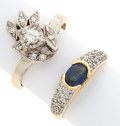 Estate Jewelry:Rings, Diamond, Sapphire, Gold Rings. ... (Total: 2 Items)