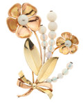 Estate Jewelry:Brooches - Pins, Retro Opal, Pink & Yellow Gold Brooch, Walter Lampl. ...