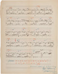 Autographs:Artists, Igor Stravinsky Autograph Musical Manuscript Signed....