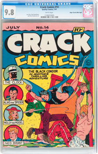 Crack Comics #14 Mile High pedigree (Quality, 1941) CGC NM/MT 9.8 White pages