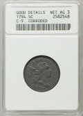 1794 1/2 C -- Corroded -- ANACS. Good Details, Net AG 3. C-9. NGC Census: (0/172). PCGS Population (8/380). Mintage: 8...