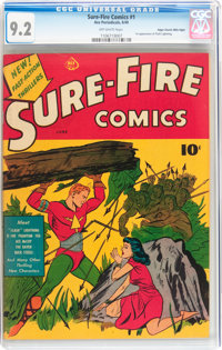 Sure-Fire Comics #1 Mile High pedigree (Ace, 1940) CGC NM- 9.2 Off-white pages