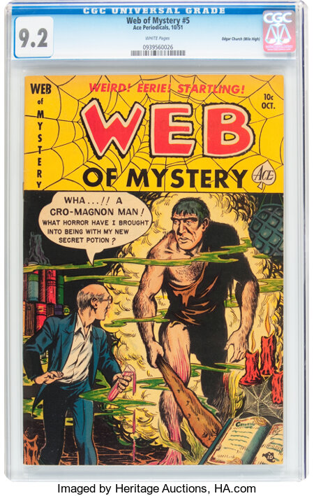 Web of Mystery #5 Mile High pedigree (Ace, 1951) CGC NM- 9.2 White pages....
