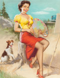 Pin-up and Glamour Art, K.O. (KNUTE) MUNSON (American, 20th Century). The Model as anArtist, Shaw-Barton calendar illustration, circa 1950s. Pa...