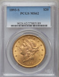 Liberty Double Eagles: , 1893-S $20 MS62 PCGS. PCGS Population (1455/576). NGC Census: (1683/303). Mintage: 996,175. Numismedia Wsl. Price for probl...
