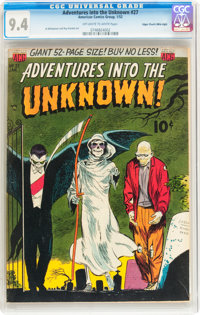 Adventures Into The Unknown #27 Mile High pedigree (ACG, 1952) CGC NM 9.4 Off-white to white pages