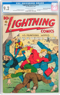 Lightning Comics V2#4 Mile High pedigree (Ace, 1941) CGC NM- 9.2 Off-white to white pages