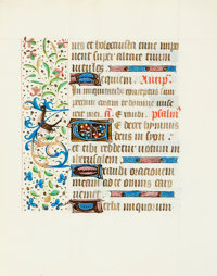 [Manuscript Leaf on Vellum]. Leaf from Hours of the Virgin. Northern France, 15th century. With
